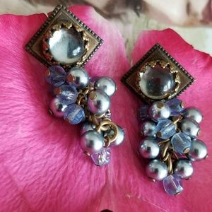 Sky blue crystal cluster earrings antique gold